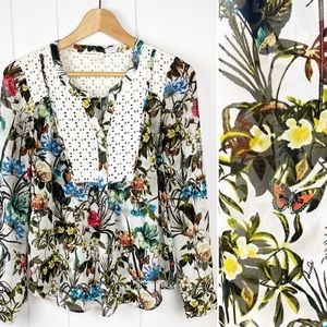Anthropologie Meadow Rue Floral Peasant Top Small